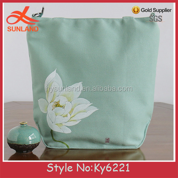 New design women simple package handbag With Tassels lady canvas print logo flower bags