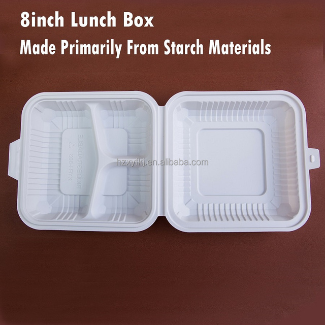 Hinged Eco-friendly Biodegradable Cornstarch Disposable Mirowaveable Clamshells Take Out Food Containers Storage Lunchbox 8inch