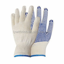 China manufacturer natural white single side PVC dotted cotton gloves