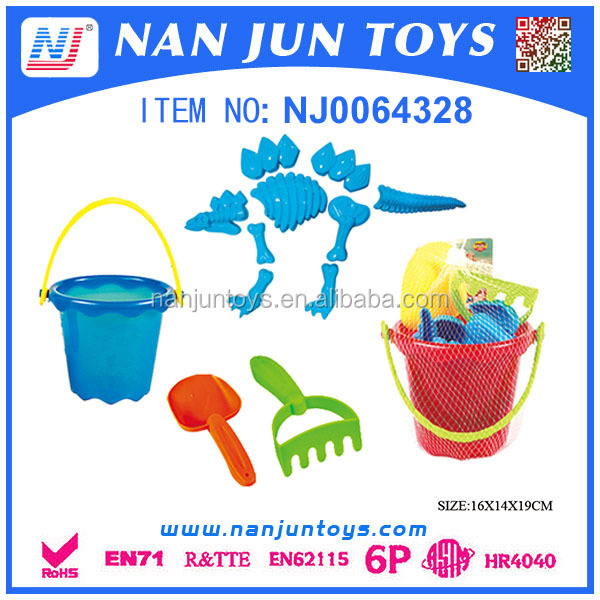 Plastic beach buckets and spades sand beach toy set for kids