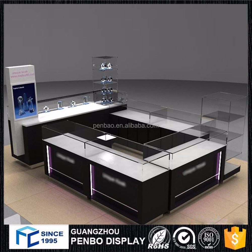 wholesale glass wood retail shop lighted countertop tabletop jewelry display case for sale