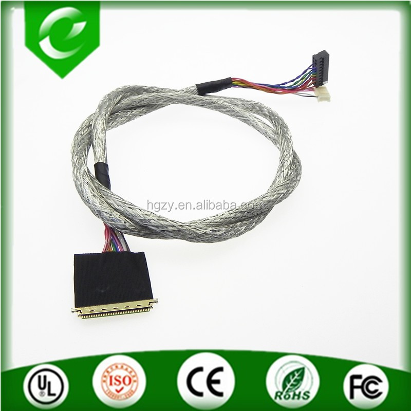 Dupont to I-pex lvds cable with aluminum shielding for LED back light