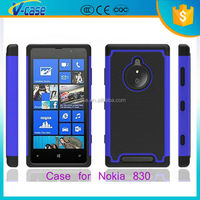Dual Layer Tough Rugged Kickstand Hybrid Heavy Duty Shockproof Armor Cover Case for Nokia Lumia 830