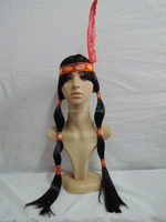 Native Indian Plaits Feather indian women hair wig