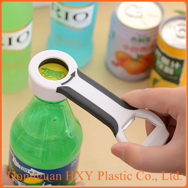Multifunction fashion 4 in 1 plastic joyshaker water bottle opener, plastic multi-purpose bottle opener for water bottles