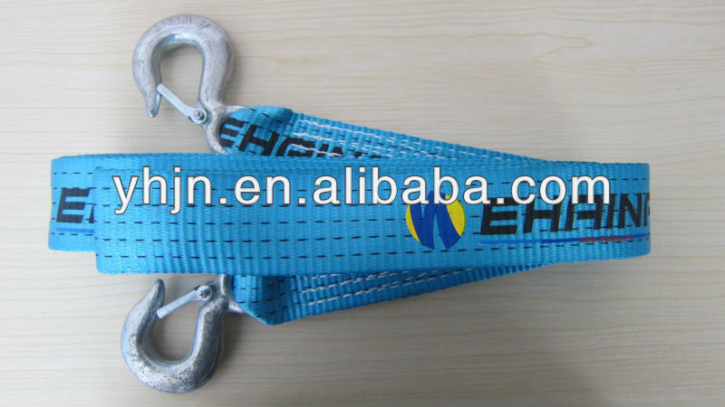 Polyester elastic safty tow straps used to pull the car from drop anchor site