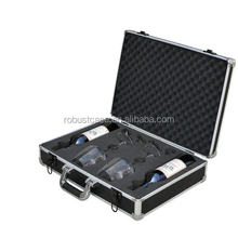 Ningbo Factory Heavy duty hard aluminum wine bottle or glasses carrying case with protection foam