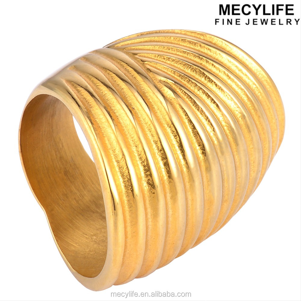 MECYLIFE Stainless Steel Flower Pattern Gold Long Finger Ring