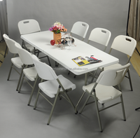 new 8ft Plastic outdoor folding used banquet tables and chairs