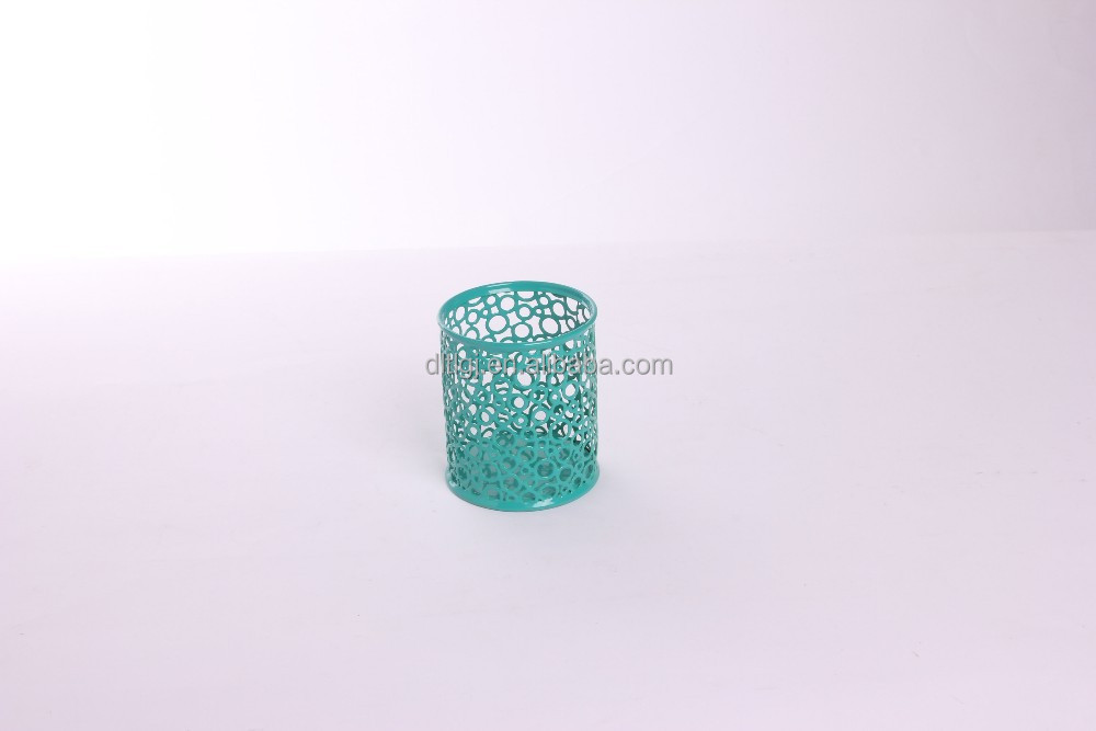 promotional gift flower embossing metal pen/pencil holder/cup/pot for office and school B8802Q