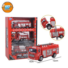 Yibao customized color alloy metal die cast fire fighting truck toy