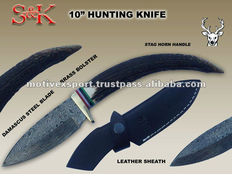 "12"" Damascus Hunting Skinner Knife Stag Horn Handle With Leather Sheath."