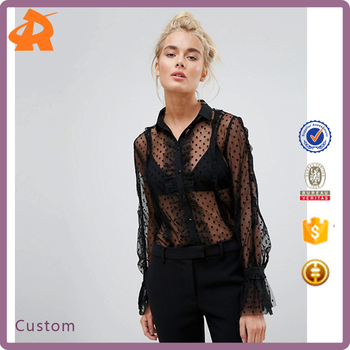 custom make black sexy blouse women,hot selling blouse design images supplier in china