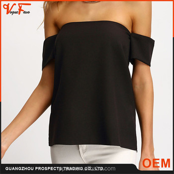 New arrival summer party sexy black Cap Sleeve off shoulder boat neck women blouse for lady 2016