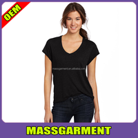 2015 Hot sale sexy soft cotton short sleeve black t shirt women