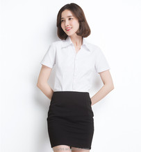 2017 Woman Summer Blouse Short Sleeve Blouse For Office Lady White Blouse