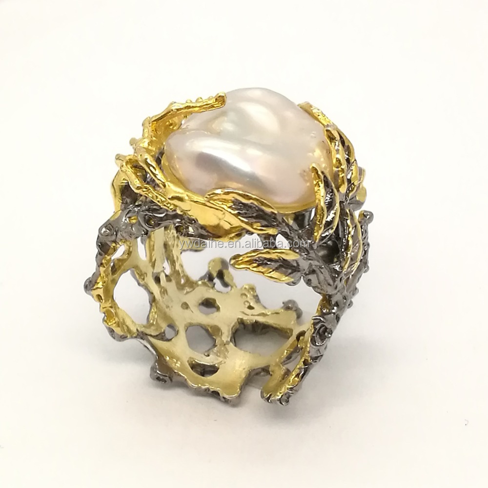 18k Gold with Black Gold Baroque Pearl Freeform Imitation Nugget Ring