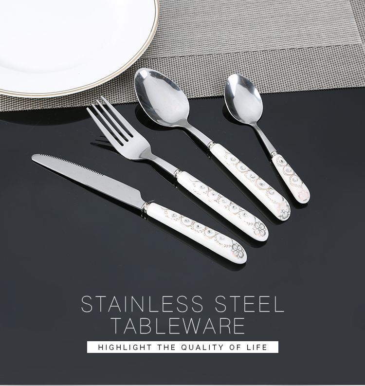 Hot Sale titanium ceramic handle flatware set custom tabletware porcelain tableware set bulk flatware