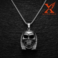 316 Stainless Steel High Quality Black Silver Mens Snake Egyptian Pharaoh Skull Pendant