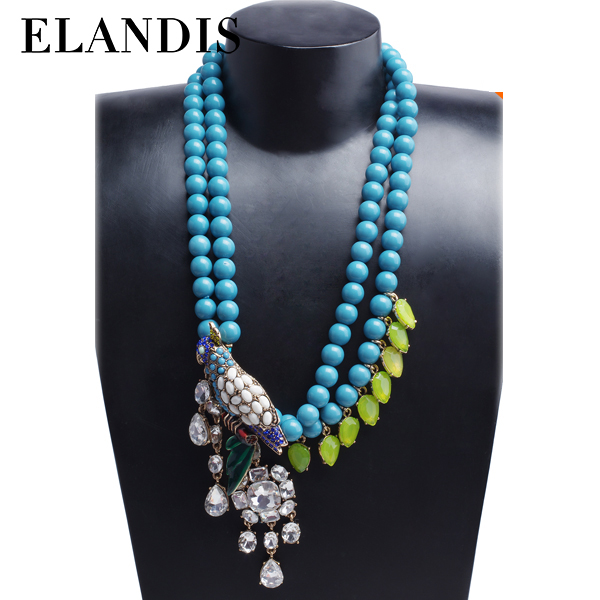 E-ELANDIS china jewelry wholesale yiwu fashion glass stone pendant blue bead necklace designs NL10516