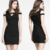 Unique design fashion solid color dew shoulder slim mini designer one piece party dress