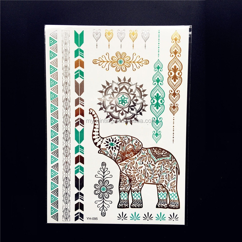 Temporary tattoos elephant gold flash tattoo buy for Temporary elephant tattoo