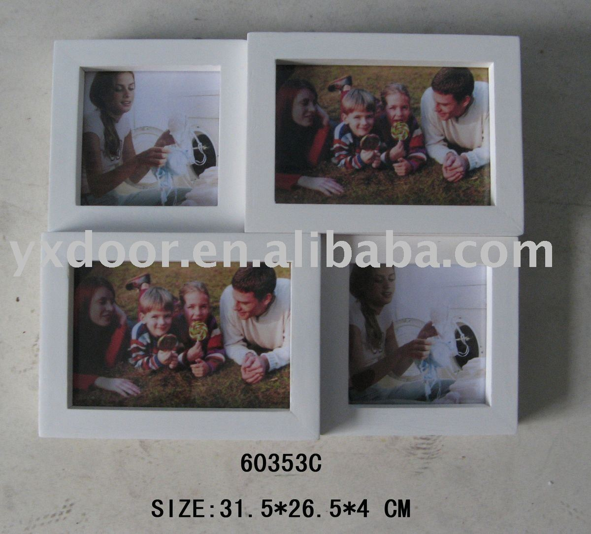 white color 4 pictures wooden photo frame / hanging wall / solid wood