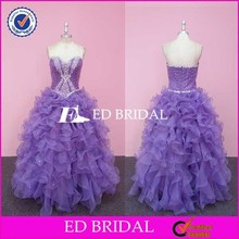 JA001 Big Size Sweetheart Sleeveless Ruffles Bottom Purple Evening Gown