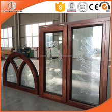 New design top hung opening oak wood window with aluminum cladding from outside