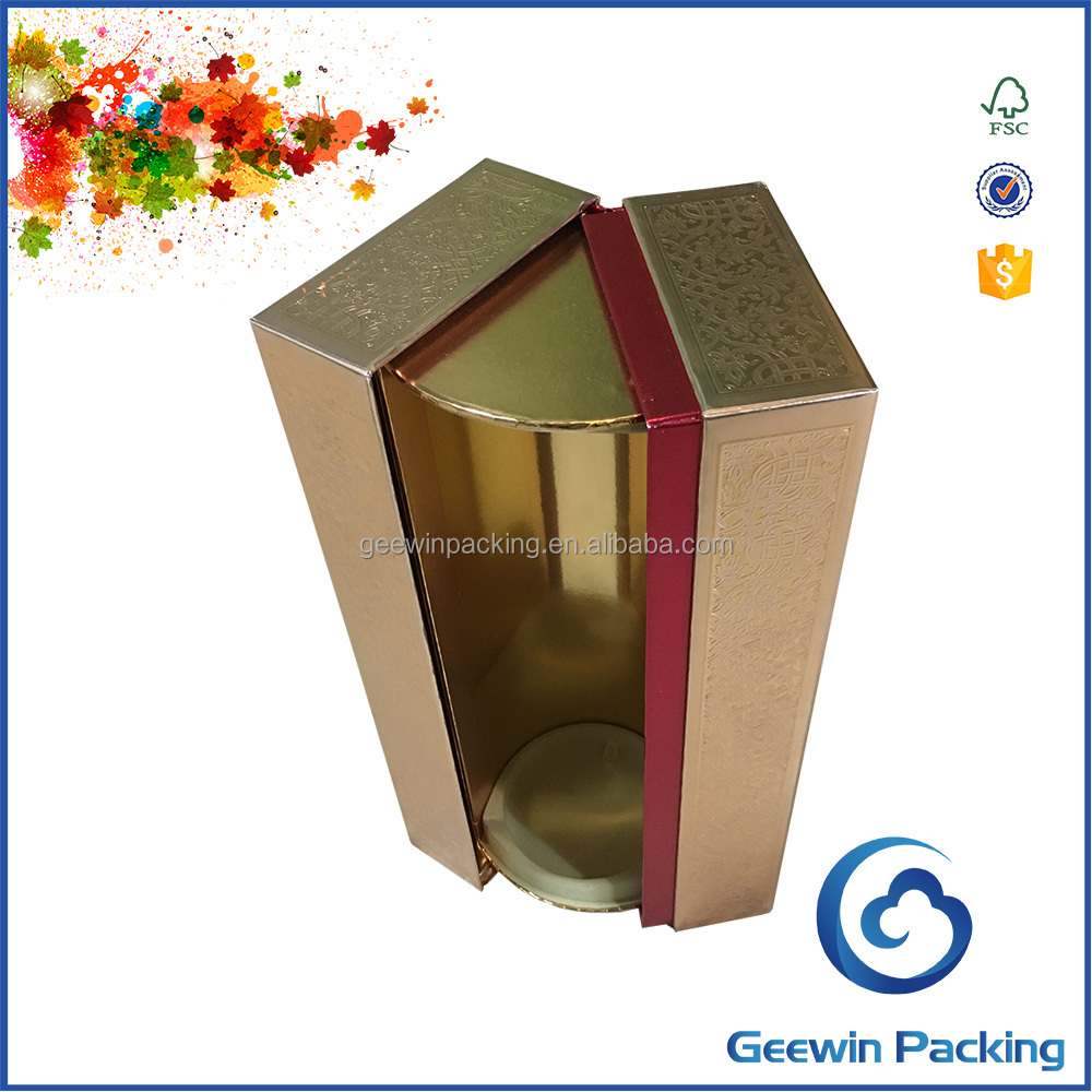 Luxury Gold Color Leather Gift Box/Wine Gift Box Packaging
