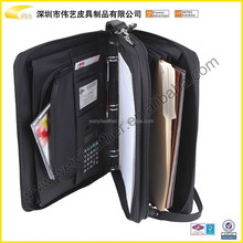 portfolio bags leather poportfolio case with handle business zipper portfolio/briefcase with ring binder CD pocket