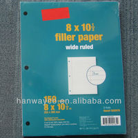 "Wide ruled Filler Paper 8"" x 10-1/2"" stocklots closeout stock"