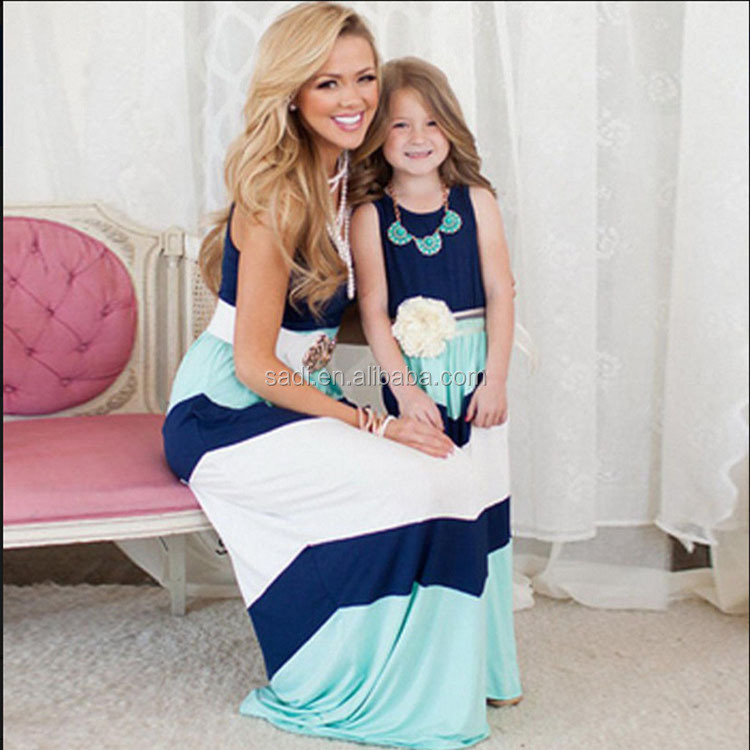 Summer Family Matching Clothes Mommy and Me Clothes Outfits Contrast Color Mother and Daughter Stitching Sets Dresses