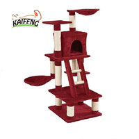 China Factory Supply Pet Cat Wooden Scratching Post Toy Sisal Cat Tree