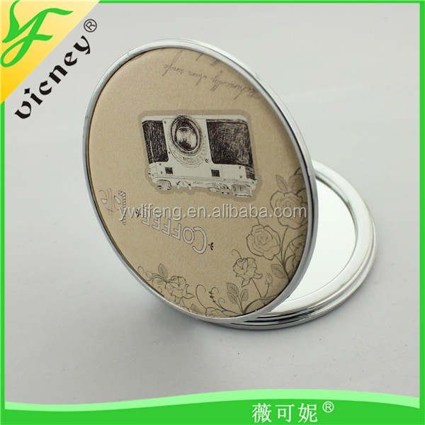 Various Color and Pattern Pu Mirror for Travel / Advertising Gifts Mirror