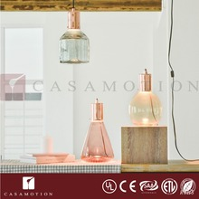 CASAMOTION Modern Hand Blown Art Glass 1 Light LED Plug-in Pendant Light Ceiling Lamp