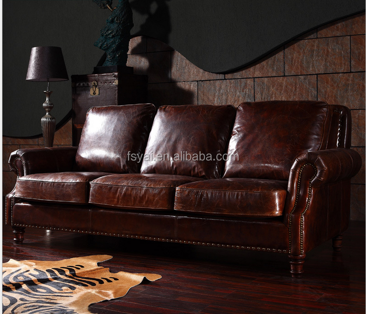 top quality leather long 6 seaters vintage chesterfield leather sofa