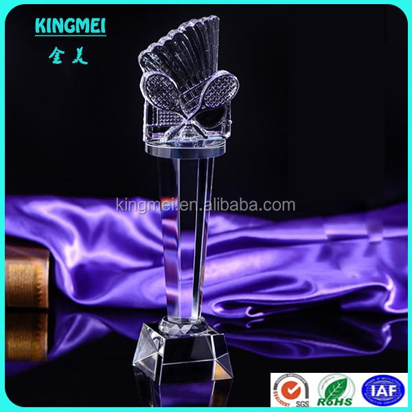 KM-XP45 Custom Elegant K9 Crystal Badminton Trophy Custom Made Badminton Crystal Award Crystal Sports Trophy