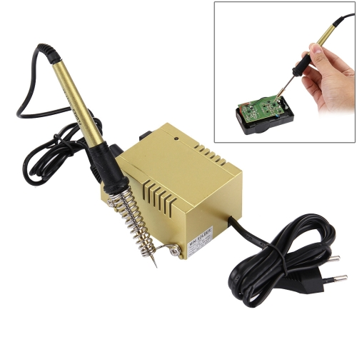 In Stock AC 220V 1-18W Mini Thermostatic Soldering Station Electric Soldering Iron, EU Plug(Gold)
