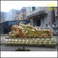 Religious bronze resin sleeping colored drawing buddha statue for decoration