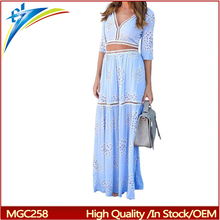 Yiwu summer fashion long ladies beach dress hollow out women V neck Bohemia maxi dress