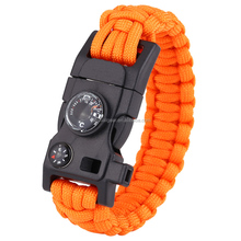 paracord bracelet with compass thermometer whistle fire starter