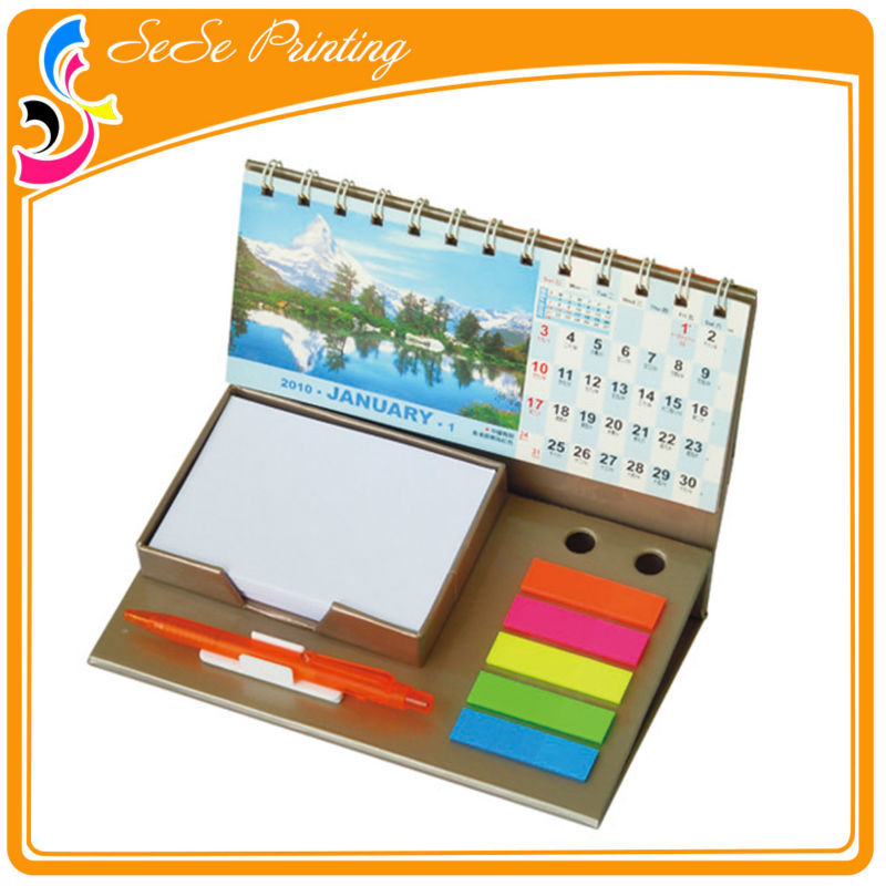 OEM high quality colorful holiday stand up/ desk calendar with notepad accept trust assrance