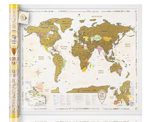 NEW Scratch off World Map Gold Edition ORIGINAL from Manufacturer Large Map Size Enlarged Europe and Caribbean Islands