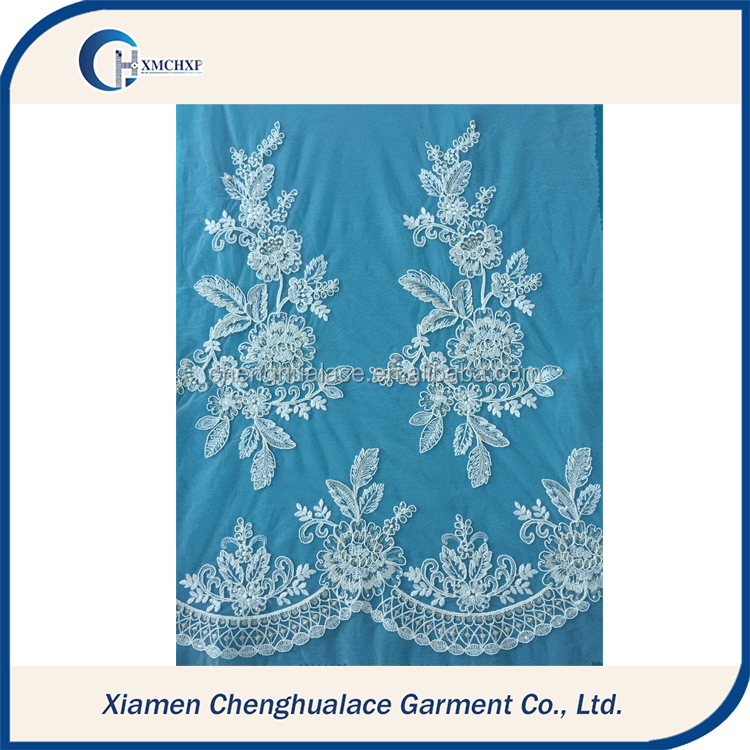 White Flower Pattern Embroidered Guipure Lace