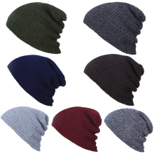 Wholesale men winter solid color embroidered 100% wool knitted beanie hat