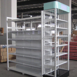Manufacturer Adjustable Wire Mesh Metal Steel Grocery Display Racks and Shelves for Shop Shelving with Light Box YD-024