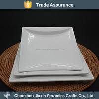CE/EU/SGS Certification white ceramic square plain plates for dinner