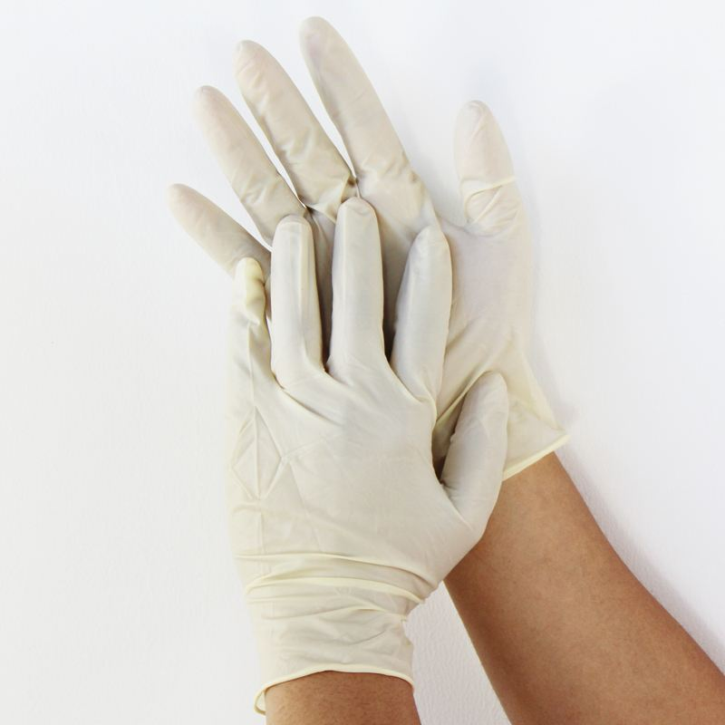 Disposable non sterile white medical polymer material latex gloves malaysia manufacturer for hospital laboratory industry