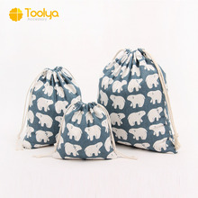 New brand wholesale cotton linen drawstring bag best quality,Striped cotton printed cotton fabric drawstring bag